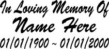 In Loving Memory of Decal Window Sticker Personalized Memorial Tribute for car_