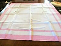 """vintage pink/ivory linen table cloth 43 x 41"""""""