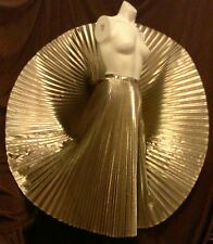 One-Of-A-Kind Liquid Gold Lame 'Whittall & Javits' Vintage Accordion Pleat Skirt