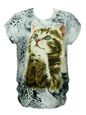 NEW! CAT / KITTEN Face Wild ANIMAL /FELINE Print TOP w/ BLING ~ 1X - Bust to 44""