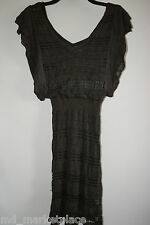 GUESS by MARCIANO Womens Knit Sweater Dress Tunic V Neck Green Metallic XS
