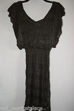 GUESS by MARCIANO Womens Knit Sweater Dress Tunic V Neck Green Metallic XS