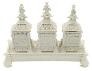 Set Of 3 Chest Boxes Modern White Ornament 3 Wise Monkeys See Speak Hear No Evil