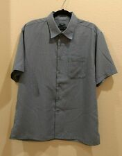 JOSEPH & FEIS Size Large Blue & White Checked Short Sleeve Button Down