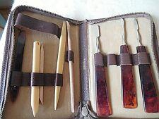 Vintage Manicure Pedicure Kit 8-pc Set in leather case-West Germany