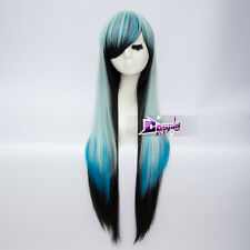 Long Straight Wig Heat Resistant Cosplay Lolita 85cm Blue Mixed Black + Free Wig