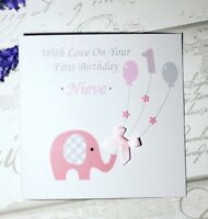 Gorgeous Personalised girls 1st Birthday Card