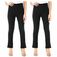 Trousers Ladies Stretch Ribbed Womens Bootcut Work Bottoms New Elasticated 12-22