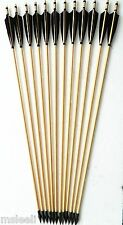 "12pcs 33"" Wooden Arrow Turkeys Feather Hunting Arrow for Recurve Bow and Longbow"