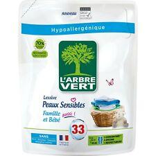 Lessive liquide Recharge Hypoallergénique Bio peaux sensibles L'ARBRE VERT 1,5L