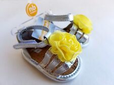 Carter's Yellow Flower SILVER Crib Sandals Shoes Infant baby NEWBORN Girl NWT