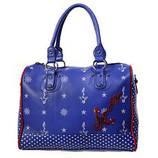Womens Ladies Blue Polka Dot Rockabilly Nautical Anchor Sailor Bag Handbag UK