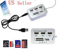 New 3 Port #A USB Hub Micro SD TF Card Reader Camera Adapter for iPad 4 iPad Min