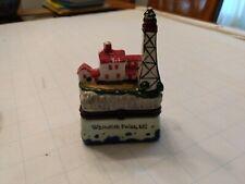 Vintage Ceramic Lighthouse Trinket Box Whitefish Point Michigan