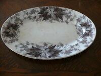 ca. 100 Jahre alte ovale Platte gemarkt Bryonia U&C mit Weinreben umrandet