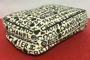 Chanel Novelty Pouch Limited logo black and white