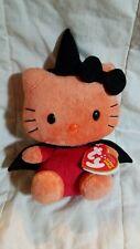 "New ListingTy Beanie Babies Hello Kitty Halloween Witch Orange / Black Plush /Rare 7.5"" Nwt"