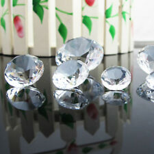 Clear Crystal Paperweight Faceted Cut Glass Diamond Shape Jewelry Decor Craft