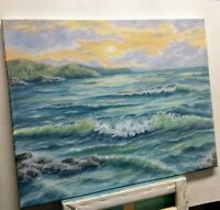 "Art 20""/16"" sunset on the ocean,oil painting, seascape, landscape, nature,surf"