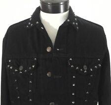 LEVI'S Denim Jacket Trucker Studs Punk Life Is A Game Hard Eight Black L fits M