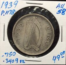 1939 Ireland Silver 1/2 Crown in AU++ Condition