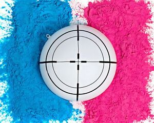 Gender Reveal White Target Ball | Pink & Blue Kit | Powder 6 Inch Shooting Ball