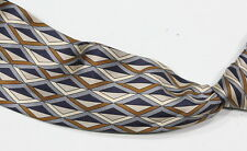 BALLY Tan & Blue Geometric Diamonds 100% Silk Made in Italy Tie Necktie
