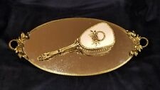 Antique Ornate Brass Vintage Oval Vanity Mirror Tray w/ Flower Handles and Brush