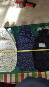 3 All Occasion Blue Fabric Gift Bags Lot 13 Reusable Washable Assorted Print