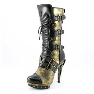New Rock Stiefel Gr. 38 M.Punk001-C20 schwarz Echtleder Plateaustiefel (#3105)