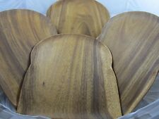 Set of 4 Ironwood Gourmet #28334 Acacia Wood Sandwich Bread Shape Plates Dishes