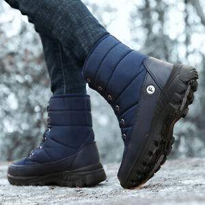 Men's Snow Boots Keep Warm Soft Fur Lined Hiking Outdoor Sports Lace Up Shoes