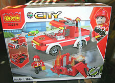 COGO Firefighter 186-Piece Building Blocks Set Vehicle & Structure 3022-6 NEW