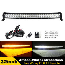 "Curved Amber/White/Strobeflash Led light Bar Offroad 22"" 32"" 42"" 50"" 52"" 600W"
