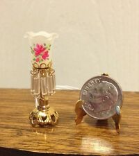 Dolls House Dollhouse Mini Electric Victorian Torchiere Table Lamp Pink Floral