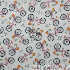 BonEful Fabric Cotton Quilt Pink White S BIKE Beach Girl Calico Flower Dot SCRAP