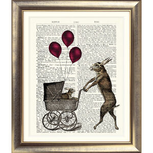 ART PRINT ON ANTIQUE DICTIONARY PAGE Vintage Hare Rabbit BABY CHILDREN Animal