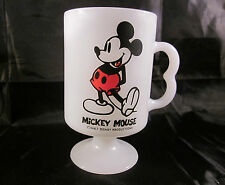 Mickey Mouse Pedestal Milk Glass Mugs Cup Fire King Disney