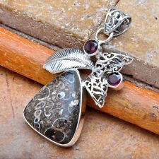 925 Sterling Silber Anhänger Turritella fossil Achat Granat