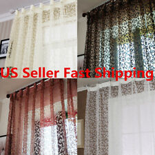 Floral Vine Flocking Sheer Voile Door Window Curtain Drape Panel Divider Screen
