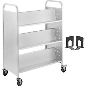 BookCartLibraryCart200lb with Double Sided W-Shaped Sloped Shelves in White