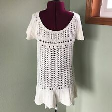 Free People The Snowbells Sz M Crochet knit Ivory Tunic Top Sweater Dress wool