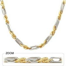"""130 gm 14k Two Tone Gold Men's Figarope Milano Heavy Chain Necklace 26"""" 7.5 mm"""