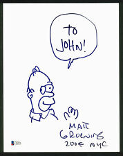 Matt Groening The Simpsons Authentic Signed 8.5x11 Homer Sketch BAS #C96976