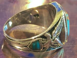 Fine Old Men's ring 10.5 Turquoise & Sterling Silver 925. Perfect Patina Vintage