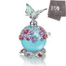 H&D Handmade Empty Blue Crystal Butterfly Perfume Bottle Wedding Lady gift 40ml