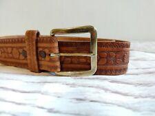 Mens Real Leather Western Style Tooled Steerhide Tan Brown Belt W32-34