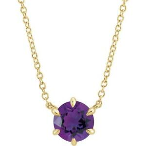 14k Yellow Gold Amethyst Solitaire 18 Inch Necklace