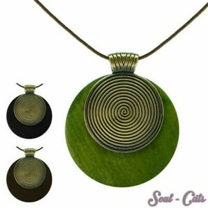 Necklace Helix Wood Leather Green Black Braun Natural Chain Brass