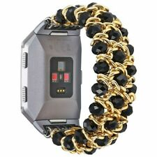 For Fitbit Ionic Bracelet Band  Elastic  Stretch Beads Wristband Black Gold